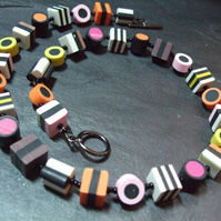 Liquorice Allsorts Kitsch Polymer Clay Necklace 18 inches