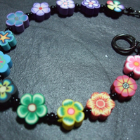 Flower Power Collection Rainbow Garland Kitsch Polymer Clay Bracelet