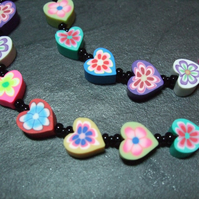 Love Heart Collection Rainbow Hearts Kitsch Polymer Clay Necklace 18 inch
