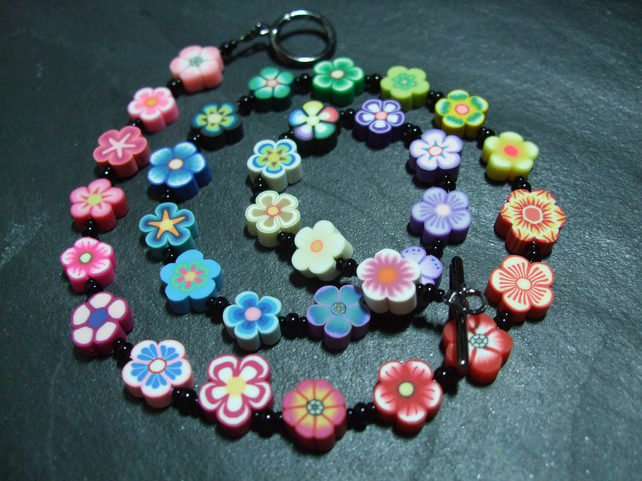 Flower Power Collection Rainbow Garland Kitsch Polymer Clay Necklace