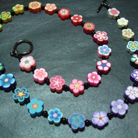 Flower Power Rainbow Garland Kitsch Polymer Clay Necklace 16 inch