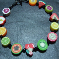 Tutti Frutti Collection Fruit Salad Kitsch Polymer Clay Bracelet