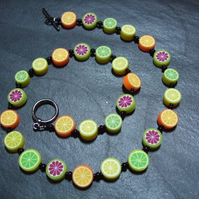 Tutti Frutti Collection Citrus Zest Kitsch Polymer Clay Necklace