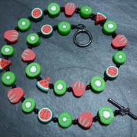 Tutti Frutti Collection Kiwi, Strawberry & Watermelon Kitsch Polymer Clay Neckla