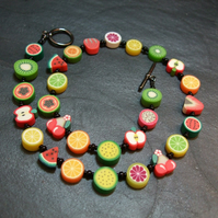 Tutti Frutti Collection Fruit Salad Kitsch Polymer Clay Necklace