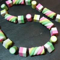Dolly Mixture & Flumps Green, Pink, Lemon, White Kitsch Polymer Clay Necklace