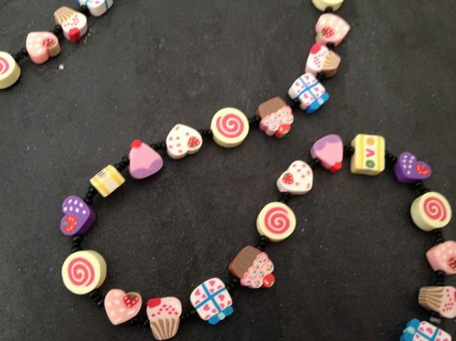 Pick n Mix Collection: Hearts and Cupcakes Kitsch Polymer Clay Necklace 18 inch