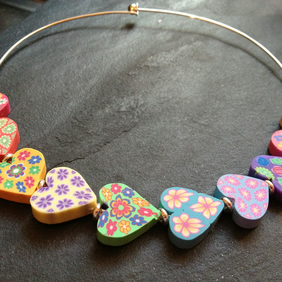 Large Rainbow Hearts Polymer Clay and Silver Plated Choker