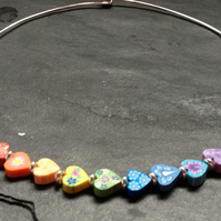 RESERVED  FOR LOUISE R Small Rainbow Hearts Kitsch Polymer Clay Silver Plated Ch