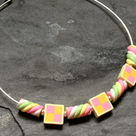 Battenberg and Flumps Kitsch Polymer Clay Silver Plated Choker