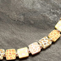 Pastel Leopard Polymer Clay Silver Plated Choker Necklace