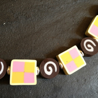 Battenberg and Chocolate Swiss Roll Kitsch Polymer Clay Choker