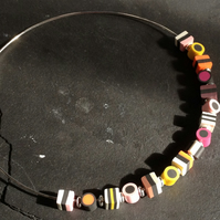Liquorice Allsorts Polymer Clay Silver Plated Choker