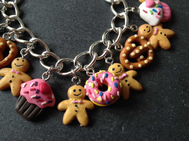 Kitsch Gingerbread Man Fimo Charm Bracelet:  Cupcakes & Donuts