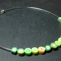 Kiwi & Melon Cocktail Kitsch Polymer Clay Silver Plated Choker Necklace