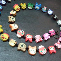 Animal Magic Collection Rainbow Zoo Kitsch Polymer Clay Adult Necklace 18 inch