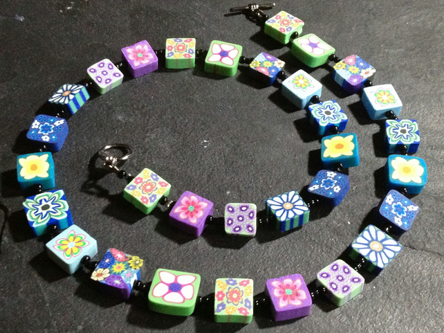 Flower Mosaic Polymer Clay Necklace 18 inch  Blues, Greens and Purples