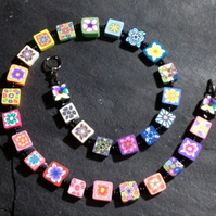 Rainbow Flower Mosaic Polymer Clay Necklace 18 inch
