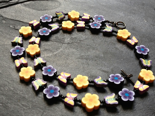 Spring Butterflies Polymer Clay Necklace 20 inches Crocus