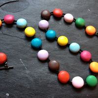 Smarties Beaded Polymer Clay Necklace 18 inch