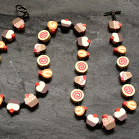 "Pick n Mix Collection: ""Cupcakes and Buns"" Kitsch Polymer Clay Necklace 18 inch"