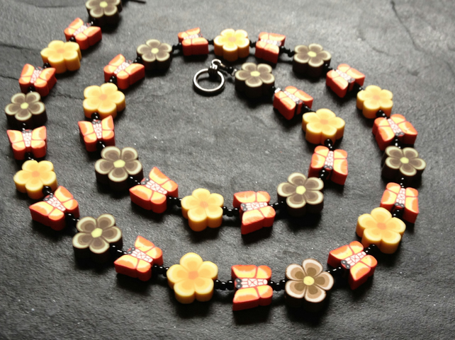 Floral Butterflies Polymer Clay Necklace 19 inches Red, Yellow Orange and Brown