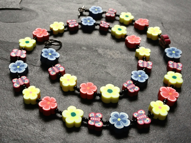 Floral Butterflies Polymer Clay Necklace 19 inches Primary Colours
