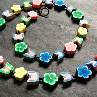 Floral Butterflies Polymer Clay Necklace 19 inches Spring Pastels