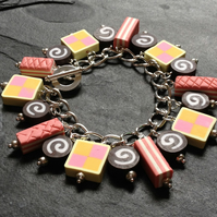Time for Tea Battenberg, Pink Wafer & Swiss Roll Polymer Clay Charm Bracelet