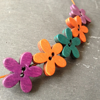 Funky Flowers Button Choker - Purple, Orange & Turquoise on Orange Wire