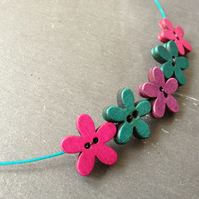 Funky Flowers Button Choker - Cerise, Purple & Turquoise on Cyan Wire