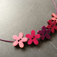 Funky Flowers Button Choker - Cerise, Purple & Rose on Purple Wire