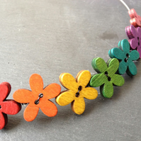 Funky Flowers Button Choker - Rainbow Mix on Silver Wire