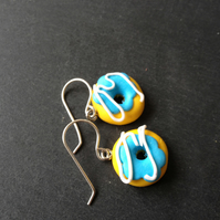 Kitsch Polymer Clay Donut Earrings - Turquoise Blue with White Piping