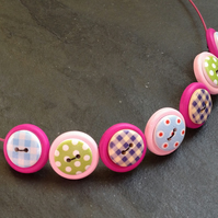 Folk Art Button Necklace Pinks