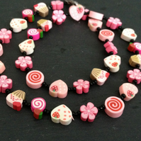 Pink Sugar and Spice Kitsch Polymer Clay Necklace 18 inch