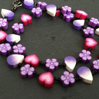 Purple Petals Kitsch Polymer Clay Necklace 18 inch