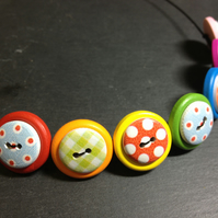 Folk Art Button Necklace Rainbow