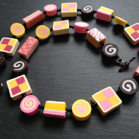Tea Time Battenberg, Angel cake, Pink Wafer and Swiss Roll Polymer Clay Necklace