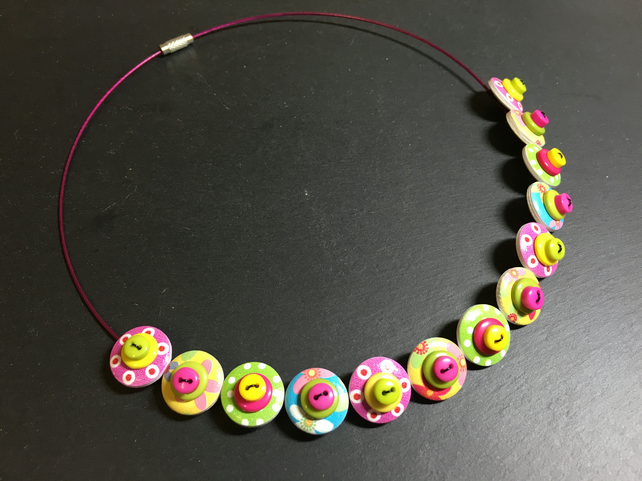 Button Necklace Spotted Wooden Choker  Easter Sunday