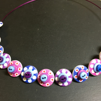 Button Necklace Spotted Wooden Choker  Purple Pink Blue