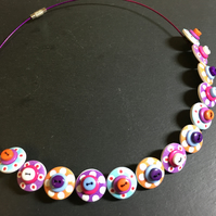 Button Necklace Spotted Wooden Choker  Orange Purple Pink Aqua