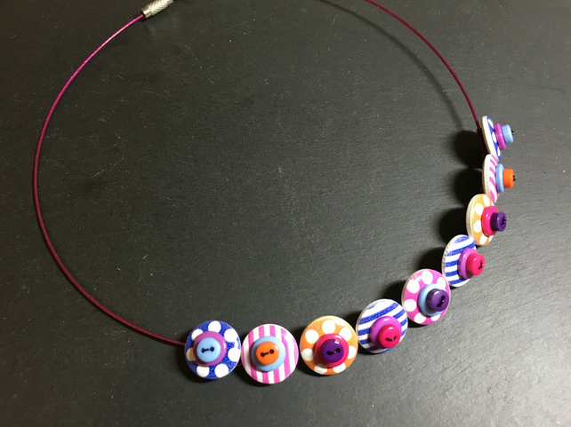 Button Necklace Spots and Stripes Wooden Button Choker Blue Purple Pink Orange