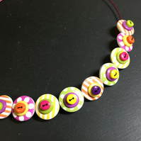 Button Necklace Spots and Stripes Wooden Button Choker Tutti Frutti