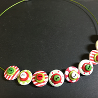 Button Necklace Spots and Stripes Wooden Button Choker Candy Cane