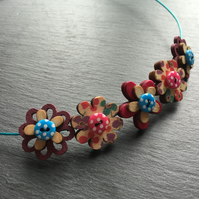 Button Necklace Wooden Flower Button Choker Turquoise Pink Purple