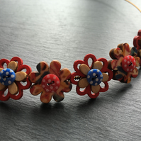 Button Necklace Wooden Flower Button Choker Yellow Red Blue