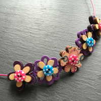 Button Necklace Wooden Flower Button Choker Purple Pink