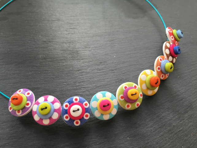 Rainbow Button Necklace  Choker Necklace Polkadot Spotty Button Necklace