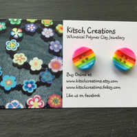 Button Earrings Rainbow Earrings Stud Earrings  Design 1